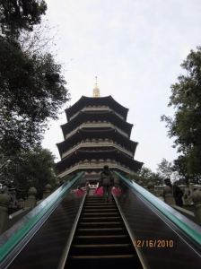 Escalator up to temple