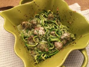 Baked Pesto Zoodles with Meatballs